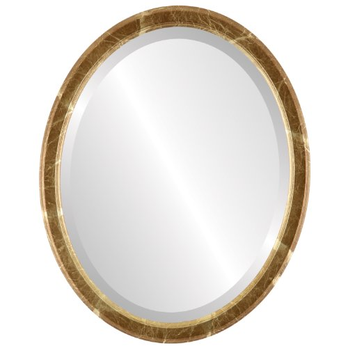 Decorative Mirror for Wall | Framed Oval Beveled Wall Mirror | Toronto Style - Champagne Gold - 18x22 outside dimensions (Store Bedroom Toronto Above 1)