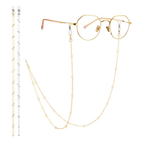 Eyeglass Chain, Segarty 2 Pack Beaded Glasses Cord Sunglasses Lanyard Retainer Strap for Women, Secure Fit For Your Glasses And Eyewear, Gold and ()