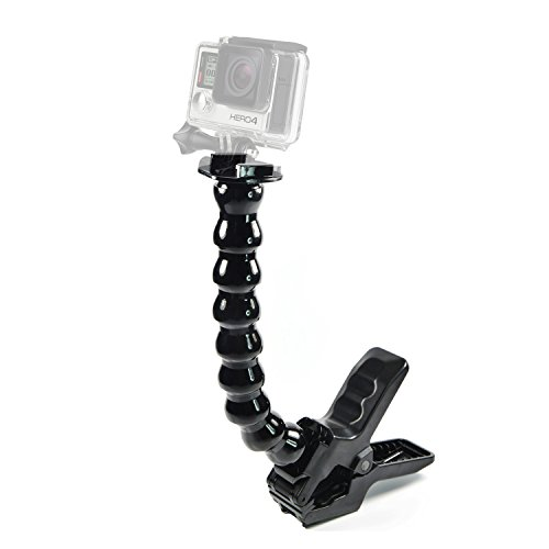 Gooseneck Set - Jaws Flex Clamp Mount with Flexible Adjustable Gooseneck for Gopro Hero3 Hero3+ Hero4 Hero 5 6- Black