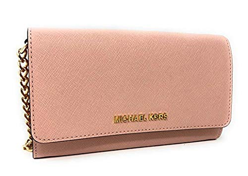 Michael Kors Jet Set Travel Saffiano Leather Small Crossbody Bag Purse Handbag Iphone Smart Phone Holder Case, Damson (Ballet)