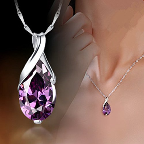 (usongs Rhodium-plated 925 sterling silver necklace pendant Austrian Angel Tears natural amethyst necklace pendant women girls clavicle)