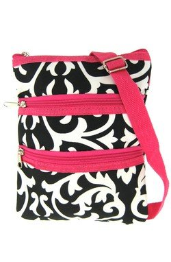 World Traveler Damask Cross Body Bag, Black and White with Pink Trim