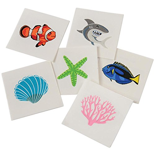 U.S. Toy Assorted Coral Reef Ocean Life Children's Temporary Tattoos -