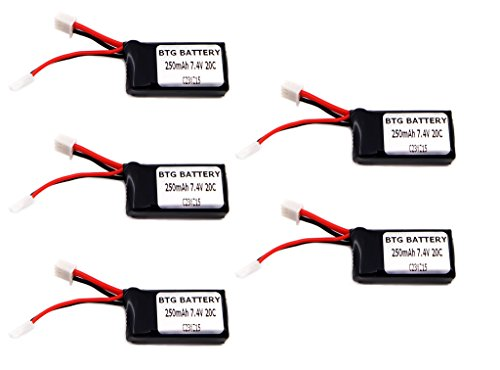BTG 7.4V 250mAh 20C Upgrade Battery for Losi Micro SCT Rally Truggy 1/24 Short Course Truck-Pack of 5