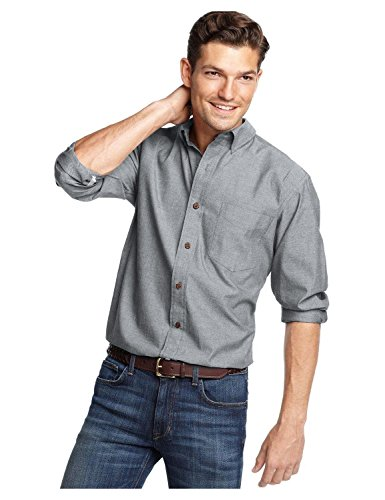 Club Room Men's Button Front Lined Oxford Shirt Jacket (Large, Dark Lead Grey)