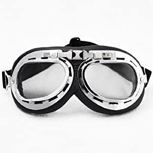 Steampunk Cyber Punk Goth Style Aviator Pilot Black Frame Clear Lens Elastic Strap Padded Frost Free Unisex Men Women UV Goggles Eyewear Sunglasses Costume Helmet Trim Decorative Cosplay Mask Tactical Gear New