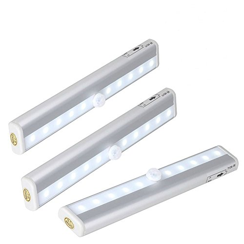 GRDE Aluminum Shell 10 Super-Bright Led Wireless Battery Powered Pir Motion Sensor Lights, Intelligent Night Light with Magnetic Strip for Cabinet/Drawer- 3 Pack