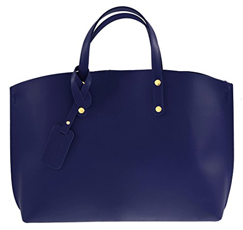 pelle in donna 47x30x14cm Bag Satchel Made con Ctm scuro 100 vera per stile Italy Blu xqUP8xtwC