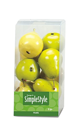 FloraCraft SimpleStyle 9-Piece Mini Decorative Fruit, Yellow/Green (Mini Pear)