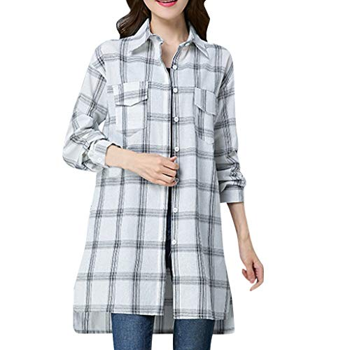 Creazrise Womens Long Sleeve Collared Button Down Plaid Casual Pocket Shirt (Black,XXL) from Creazrise Womens Coat