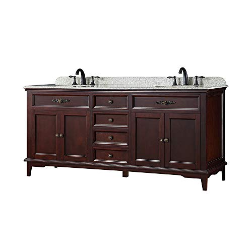Ove Decors Doncaster 72 Tobacco Double Sink Vanity with Speckled Beige Granite Top ()