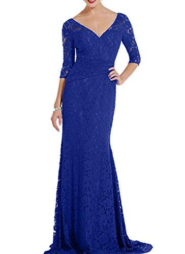 Blau Spitze Brautmutterkleider Lang Meerjungfrau Abendkleider Kleider Royal Charmant Partykleider Damen Rot Abiballkleider 6SxXWqPE