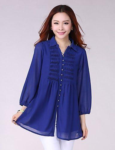 ZY Mujer Color Azul/Negro/Naranja, Blusa, Camisa cuello? Manga Fruncidos, royal blue-l: Amazon.es: Deportes y aire libre
