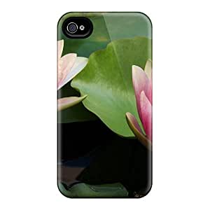 Protective Tpu Case With Fashion Design For Iphone 4/4s (water Lilies)