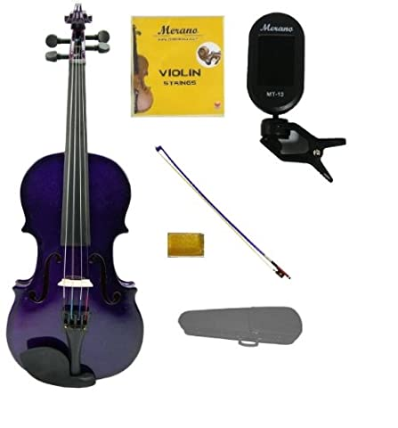 Merano 3/4 Size Purple Violin with Hard Case, Purple Stick Bow+Free Rosin+Extra Set of Strings+Merano Chrometic Clip On (Violins For Girls)