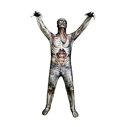 [Zombie Kids Monster Morphsuit Costume - size Medium 3'7-4'0 (108cm-122cm)] (Horror Costumes For Kids)