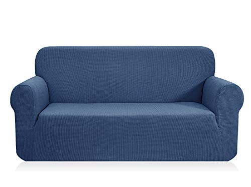 (CHUN YI 1-Piece Jacquard High Stretch Sofa Slipcover, Polyester and Spandex 3 Seater Cushion Couch Cover Coat Slipcover, Furniture Protector Cover for Sofa and Couch (Sofa, Denim Blue))
