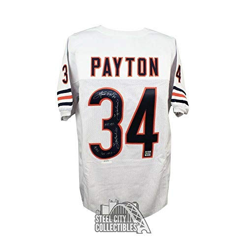 (Walter Payton Autographed Signed Autograph Chicago Bears Custom White Football Jersey PSA/DNA Loa)