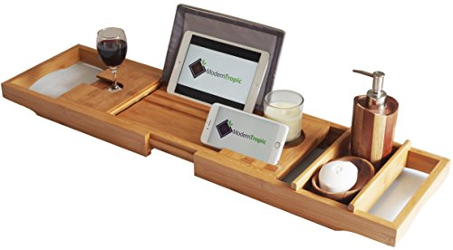 ModernTropic Home and Spa Bamboo Bathtub Caddy and Tray Expandable Non-Slip Wooden Bath Tray Securely Holds Drinks, Book/Tablet, Accessories, Phone by ModernTropic (Image #4)