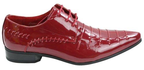 Formell Italienisches Herrenschuhe Schwarz Schwarz Rot Lässig Glänzend Design Geschnürt SYFwqxgUR