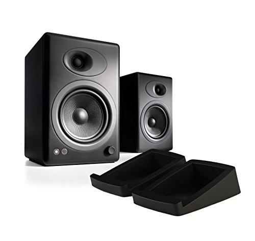 Audioengine A5+ Powered Desktop Speaker (Pr) - Black w/DS2 Desktop Speaker Stands Bundle (Stands Audiophile Speaker)