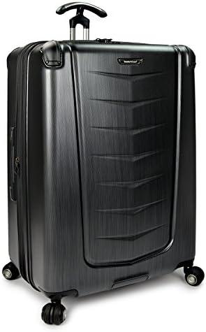 Traveler s Choice Silverwood Polycarbonate Hardside Expandable Spinner Luggage, Brushed Metal
