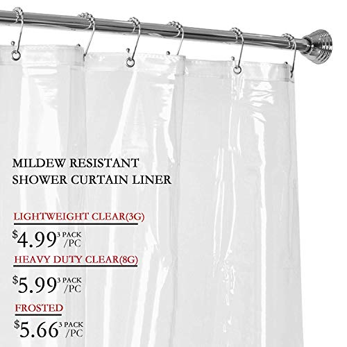 LOVTEX Clear Shower Curtain Liner - 2 Pack 72x72 Water Repellent Light Weight 3G Liner with Rust Proof Grommets for Bathroom Shower
