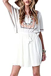 SheIn Women's White V Neck Tribal Embroidered Pleated Dress