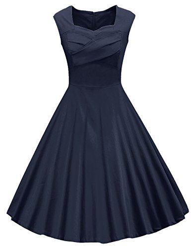 VOGVOG Women's 1950s Retro Vintage Cap Sleeve Cocktail Party Swing Dress,Navy Blue,X-Large ()