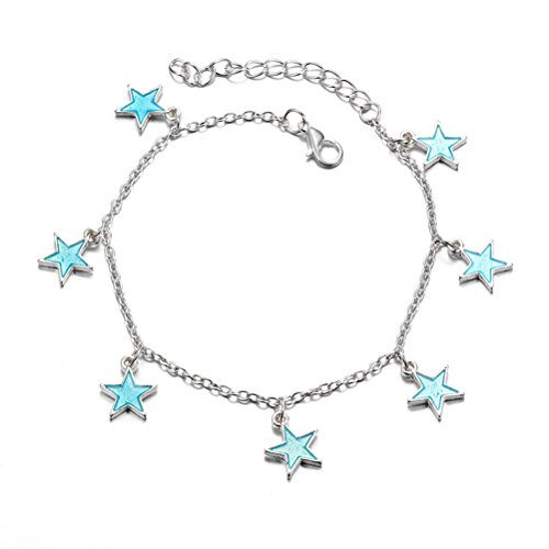 - TENDYCOCO Women Girls Anklet Summer Beach Glow Anklet Blue Night Light Twinkle Pentagonal Star Tassel Ankle Chain Accessories for Girls Luminous Bracelet