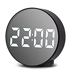 Digital Alarm Clocks for Nightstand, Sensor Light Nightlight Bold LED Round Screen, Loud Alarm, USB/Battery Dual Powered, Silent Table Shelf Clock for Student's Tabletop, Desktop, Kids Bedroom, Office