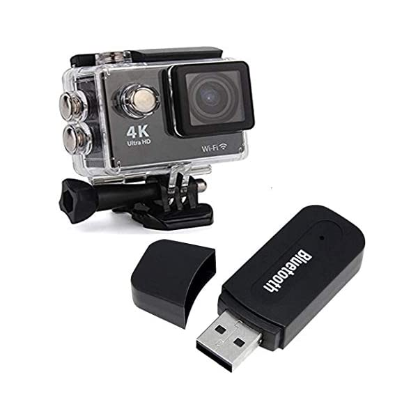 Drumstone 4K 16Mp Action WiFi Waterproof Sports Camera with 3.5Mm Bluetooth Aux Audio Stereo Handfree Receiver Compatible for All Smartphones 1