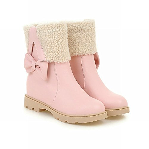 Mee Shoes Womens Inside-heel Bows Side Ankle-high Snow Boots Pink wlk14r