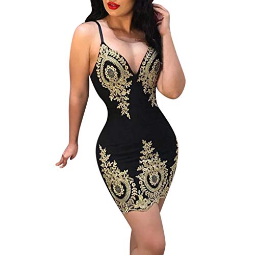 Pengy Woman Bandage Bodycon Skirt Casual Sleeveless Evening Party Dress Ladies Lace Patchwork Mini Dress Black]()