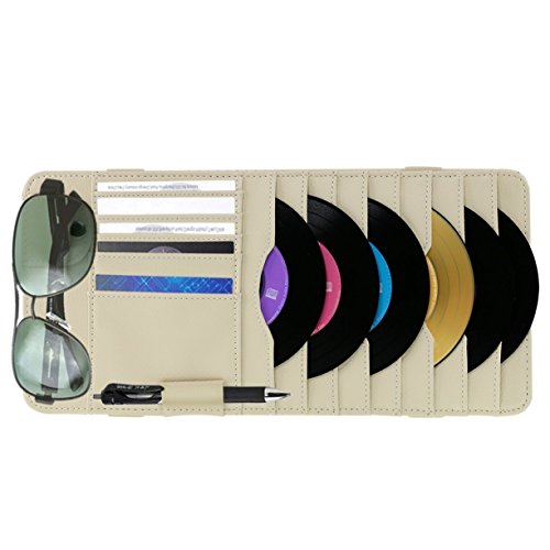 Vulcan-x Detachable Portable PU Leather CD Sun Visor Organizer with 8 CD Slots + 5 Credit Cards Pockets (Book Shelf Cd Player)