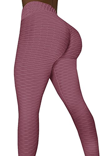 Sexy Butt Lift High Waist Slimming Leggings Textured Activewear Yoga Pants Skinny Tights (Medium, Russet-red) (Bubbles Textured)