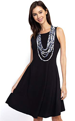 (CCFW Women's Ombre Jersey Shred Rope Necklace Scarf (8784 Navy White))