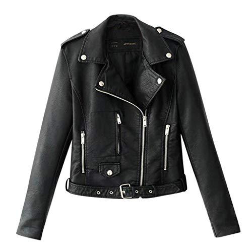 Goddessvan Motor Jacket Coat Women Ladies Lapel Short Punk Lightweight Cropped Tops S-3XL ()