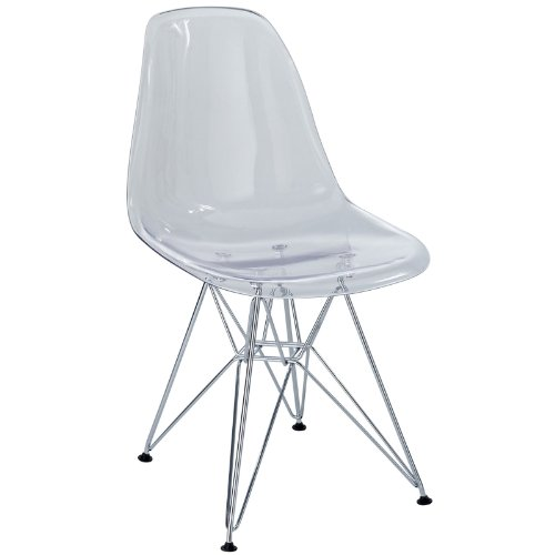 (Modway Plastic Side Chair in Clear with Wire Base)