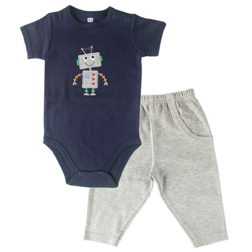 Hudson Baby Bodysuit and Pants Set, Robot, 9-12 Months