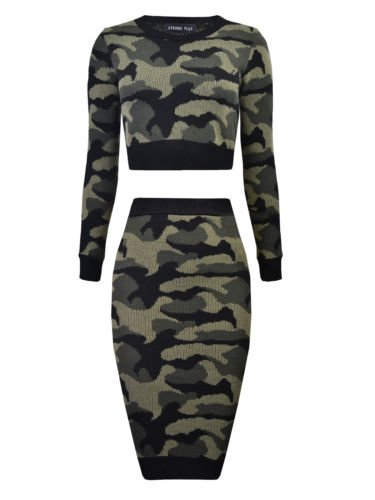 Vip Women's Knit Camouflage Midi Set (2 Piece)