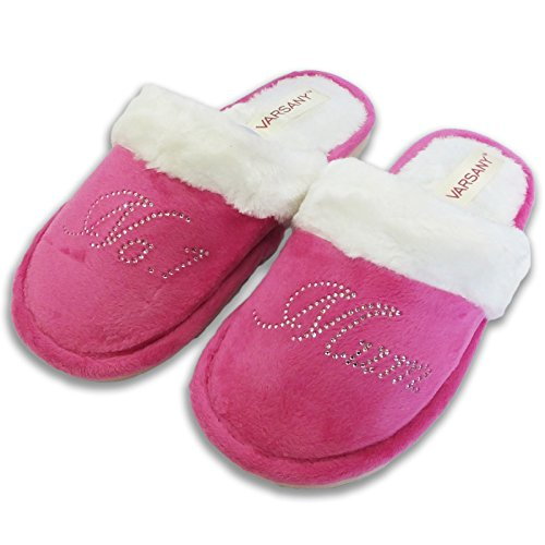 Varsany Pink Crystal No.1 Mum Best House slippers personalised Rhinestone home slippers gift WiprUTo