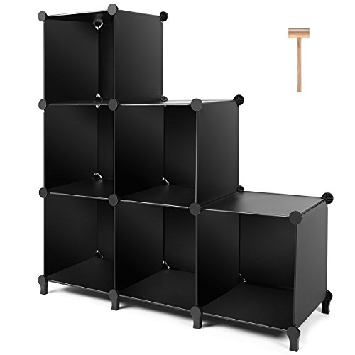TomCare Cube Storage 6-Cube Closet Organizer Storage Shelves Cubes Organizer DIY Plastic Closet Cabinet Modular Book Shelf Organizing Storage Shelving for Bedroom Living Room Office, Black (Bookcase Stacking Door 2)