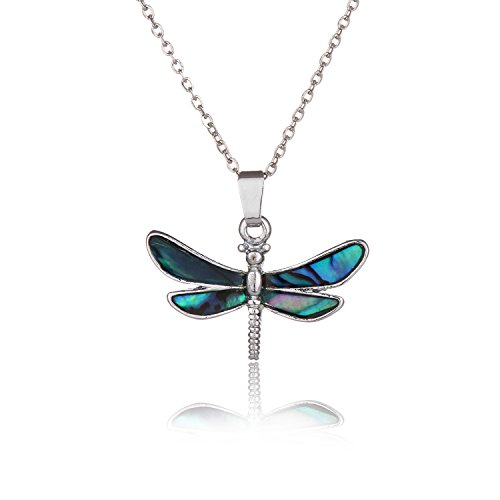 Barch Blue Abalone Paua Shell Pendant Necklace Silver Jewelry Mood with Wax Cord as Christmas Jewelry Gift for Girls/Boys (Dragonfly) ()