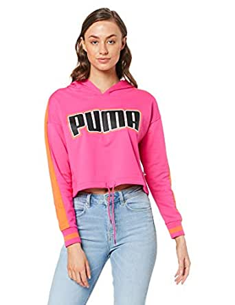 PUMA Women's Rebel Reload Cropped Hoodie, Fuchsia Purple, XS