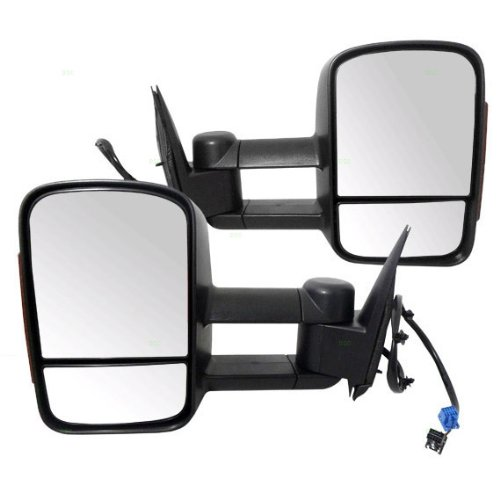 (New Pair Set Heated Telescopic Power Tow Mirror w/Signal Pickup Truck )