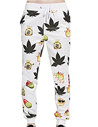 Generic Unisex 3D Printed Sportwear Sweatpants Trousers Tracksuits White XS