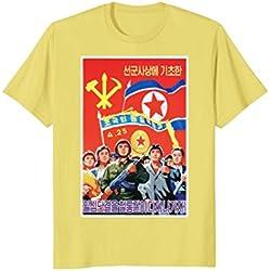 Mens North Korea Propaganda Poster T Shirt Large Lemon