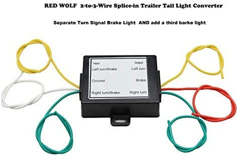 Amazon Com Red Wolf 2 To 3 Wire Splice In Trailer Tail Light Converter Wire Harness Connector Separate Turn Signal Brake Light Set Up For Trailer Rv Dinghy Towing Pickup Trucks Vans Automotive