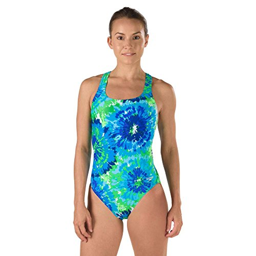 Womens Speedo Swimming Costumes (Speedo 7719639 Womens Burst Drop Back PowerFLEX Eco Swimsuit, Blue/Green - 8/34)